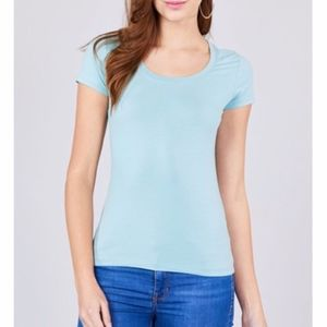 Mint Scoop Neck Fitted Short Sleeve Top NWT